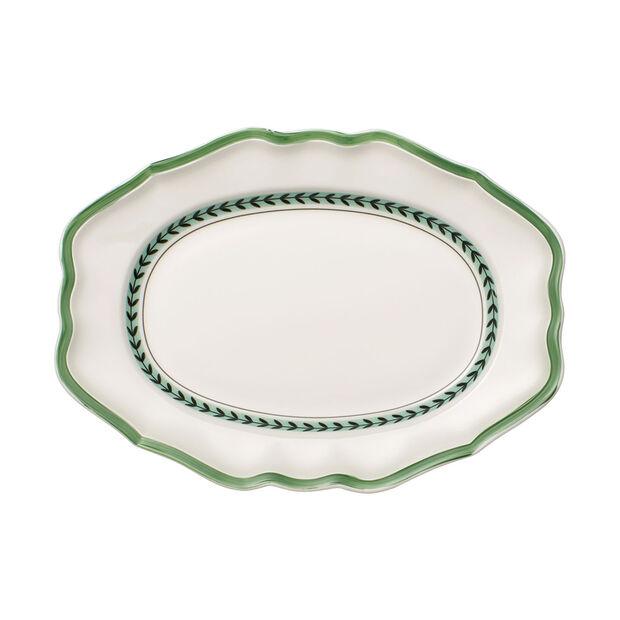 French Garden Green Line Oval Platter, , large
