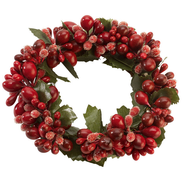 Winter Collage Accessories Candle Ring with Berries, , large