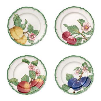 French Garden Modern Fruits Dinner Plate: Assorted, Set of 4