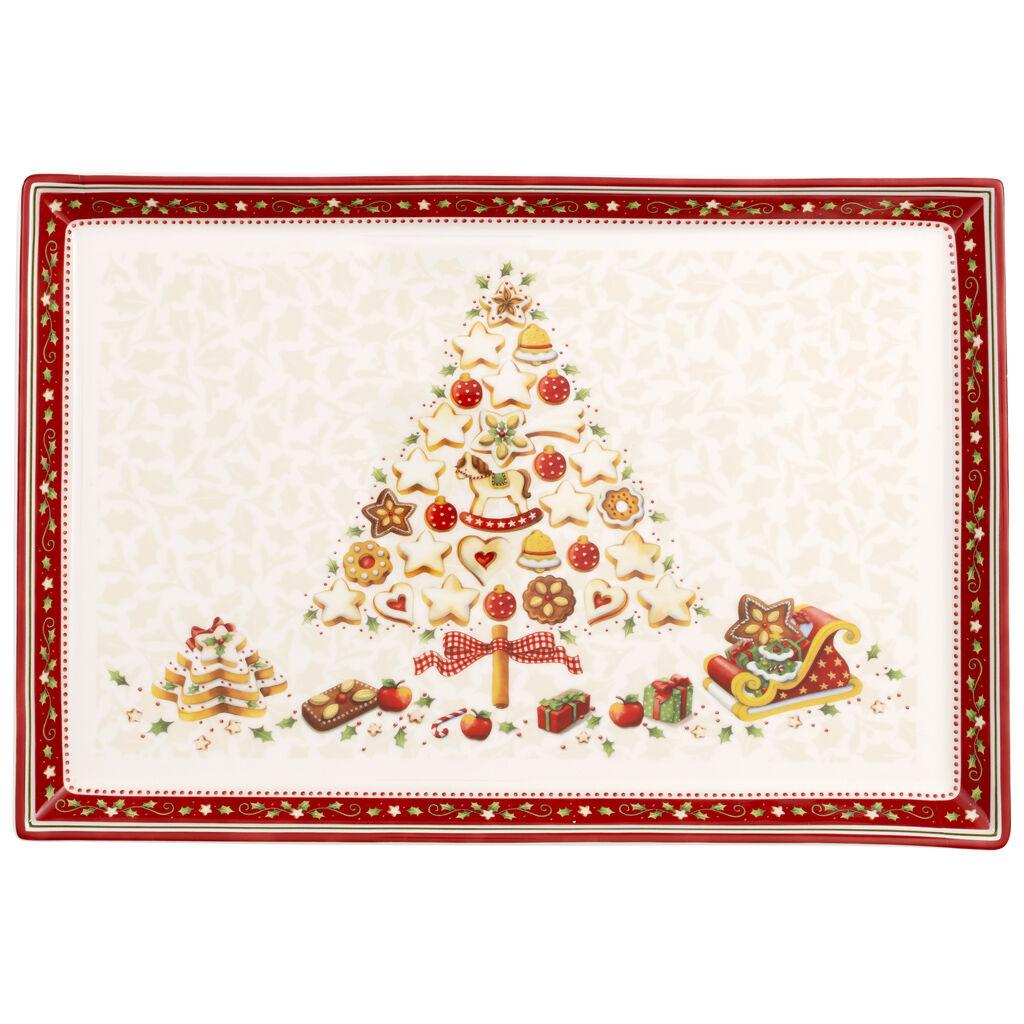 빌레로이 앤 보흐 '윈터 베이커리 딜라이트' 케이크 접시 라지 Villeroy & Boch Winter Bakery Delight Large Cake Plate 15x10.5 in