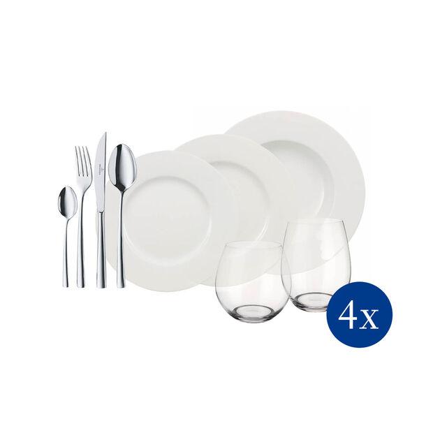 Wonderful World White 4 Friends 36-piece dinner set, , large