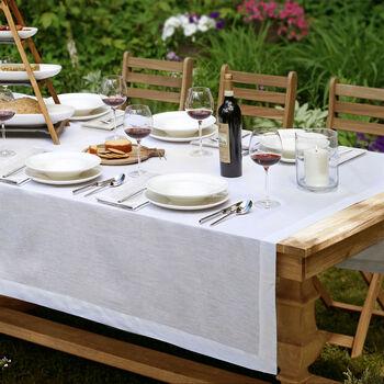 """La Classica Oblong Tablecloth: White, 70x126"""""""
