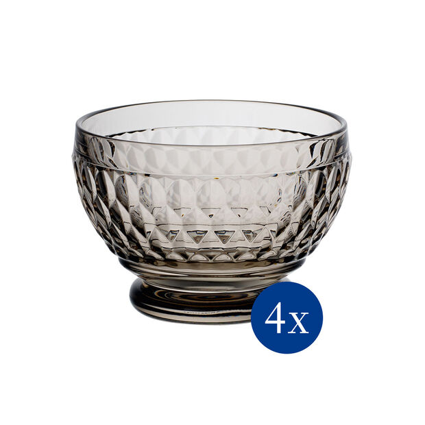 Boston Colored Individual Bowl: Smoke, Set of 4, , large