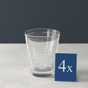Dressed Up Crystal Glass Tumbler: Square, Set of 4