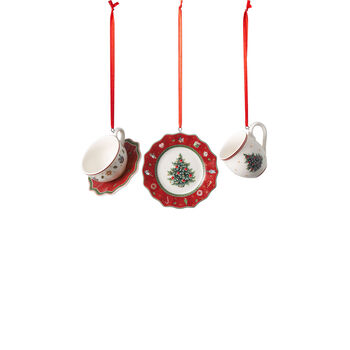 Toy's Delight Decoration Ornaments: Red Tableware, Set of 3