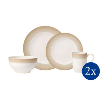 Colorful Life Natural Cotton 8 Piece Dinner Set for 2