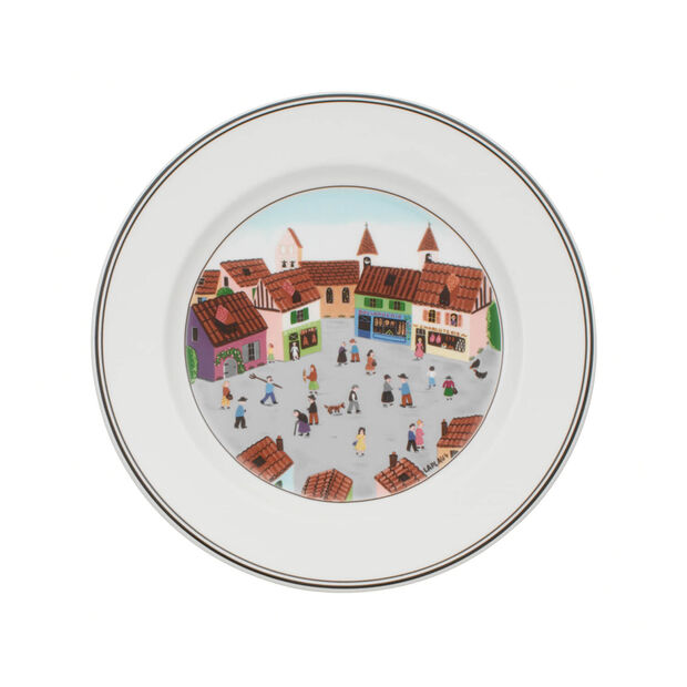 Design Naif Dinner Plate #4 - Old Village Square, , large
