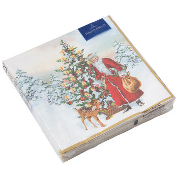 Winter Specials Cocktail Napkin: Santa & Tree