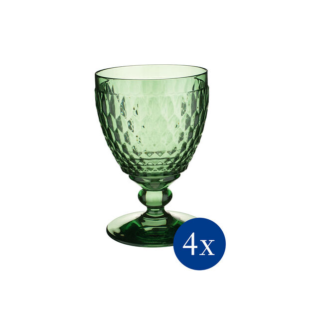 Boston Colored Goblet: Green, Set of 4, , large