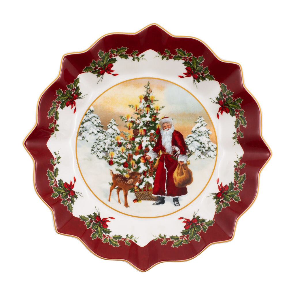 빌레로이 앤 보흐 '토이즈 판타지' 접시 Villeroy & Boch Toys Fantasy Footed bowl, Santa with Christmas Tree