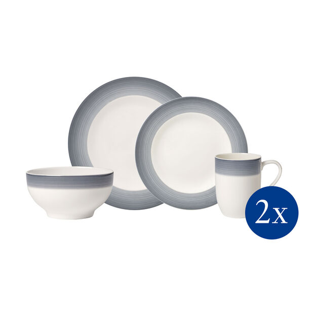 Colorful Life Cosy Grey 8 Piece Dinner Set for 2, , large