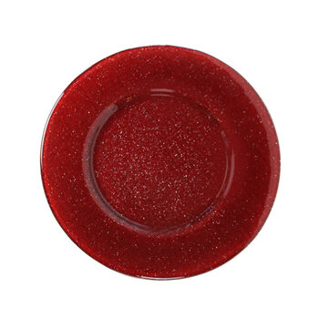 Verona Glass Charger: Red Glitter