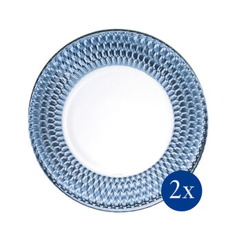 Boston Coloured Buffet Plate: Blue, Set of 2