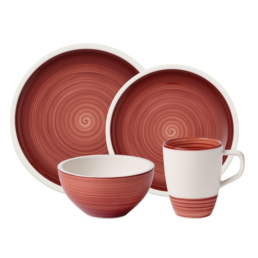 빌레로이 앤 보흐 메뉴팩처 4피스 디너웨어 세트 Villeroy & Boch Manufacture Rouge 4 Piece Dinnerware Set