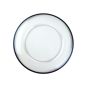 Verona Glass Charger: Aria Clear with Blue Line