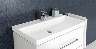 the classic sinks by villeroy boch have a graceful elegance to them mounted freely on the wall they accentuate the room perfectly - Villeroy Boch Basin