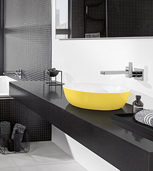 Colored bathroom sinks are available in the Finion and Artis collections. Complemented by other ceramic products and matching bathroom furniture, ...