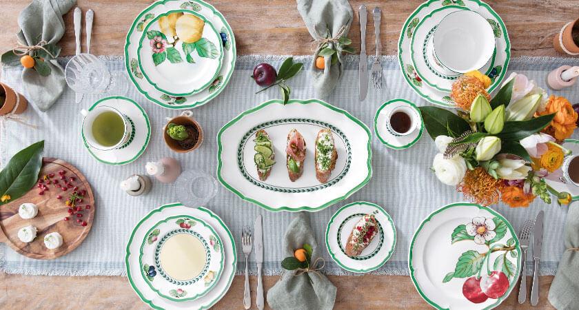 Premium Porcelain White//Multicoloured Villeroy /& Boch Rose Sauvage H/éritage Round Bowl
